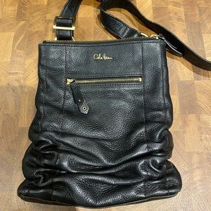 Cole Haan Black Pebbled Leather Ruched Crossbody